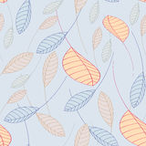 无缝的在蓝色背景的样式落的叶子 向量例证