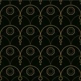 无缝的在金子和黑色的线艺术几何样式 库存例证