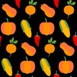 无缝的在黑色的纹理新鲜蔬菜 库存照片