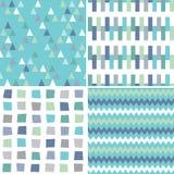 无缝的在水色蓝色和灰色的行家几何样式 免版税库存图片