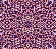 无缝的复杂圆的装饰品淡色红色紫色 库存图片