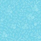 无缝的复活节装饰用在蓝色背景的鸡蛋 免版税库存照片