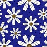 无缝的夏天手拉的春黄菊样式 库存例证