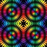 无缝的多角形样式 在几何抽象背景中和黑条纹环绕的彩虹 适用于纺织品,织品和 免版税库存图片