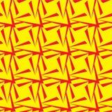 无缝的多角形黄色和红色样式 几何抽象的背景 免版税库存照片