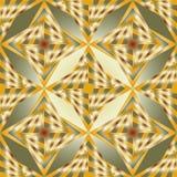 无缝的多角形绿色和金样式 几何抽象的背景 免版税库存照片