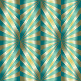 无缝的多角形绿色和金样式 几何抽象的背景 免版税库存图片