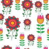 无缝的天真花卉向量重复背景 免版税库存照片