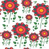 无缝的天真花卉向量重复背景 免版税库存图片