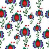 无缝的天真花卉重复背景 库存照片