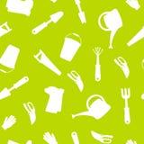无缝的套为从事园艺的工具 从事园艺的收藏 象剪影 向量例证