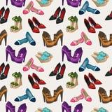 无缝的妇女的时尚穿上鞋子样式 库存照片