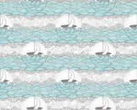 无缝的小船和海样式。逗人喜爱的背景为 库存图片