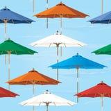 无缝的市场伞样式背景 免版税库存照片