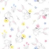 无缝的幼稚样式用逗人喜爱的兔子 免版税库存照片