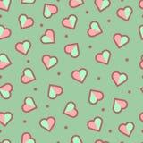 无缝的心脏样式,逗人喜爱和五颜六色 库存图片