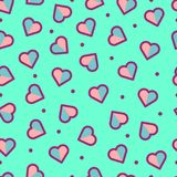 无缝的心脏样式,逗人喜爱和五颜六色 免版税库存照片