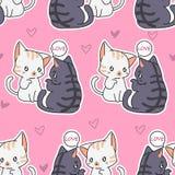 无缝的恋人猫样式 库存例证