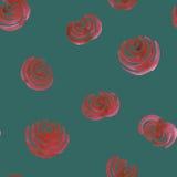 无缝的手拉的与玫瑰的水彩花饰 免版税图库摄影
