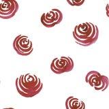 无缝的手拉的与玫瑰的水彩花饰 库存照片