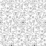 无缝的手拉的乱画origami样式 库存照片