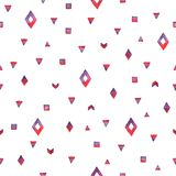 无缝的手拉的在红颜色的水彩种族样式 免版税库存图片