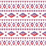 无缝的手拉的在红颜色的水彩种族样式 免版税图库摄影