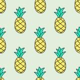 无缝的手拉的样式用菠萝 向量 库存图片