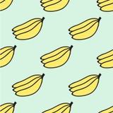 无缝的手拉的样式用香蕉 向量 库存图片