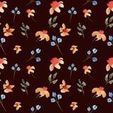 无缝的手拉的美丽的与橙色和紫色花的水彩花卉样式 库存例证