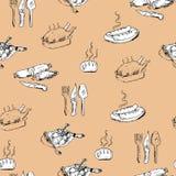 无缝的手拉的食物样式 免版税库存图片