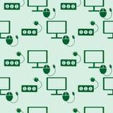 无缝的技术传染媒介样式,对称背景与显示器、个人计算机老鼠和保险丝象,在绿色背景 库存图片
