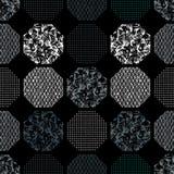 无缝的抽象减速火箭的几何样式 在几何布局的被仿造的,织地不很细六角形 向量例证