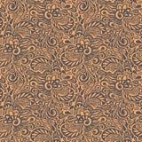 无缝的抽象卷曲花卉模式 库存照片