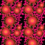 无缝的抽象圆的开花橙色明亮的桃红色橄榄绿黑色 皇族释放例证