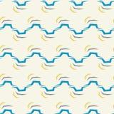 无缝的抽象在白色背景的样式蓝线 免版税库存照片