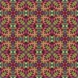 无缝的抽象在织地不很细帆布五颜六色的花装饰设计的葡萄酒背景色的马赛克对称样式tapest的 皇族释放例证
