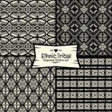 无缝的抽象在黑白照片的传染媒介种族样式收藏 免版税图库摄影
