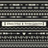 无缝的抽象在黑白照片的传染媒介部族边界收藏 库存图片