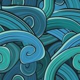 无缝的抽象手拉的波动图式 波浪 库存照片