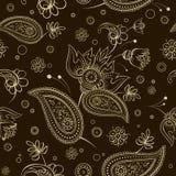 无缝的抽象样式佩兹利花披肩纹理 皇族释放例证