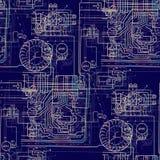 无缝的抽象样式技术 在深蓝背景的光亮电路 免版税库存图片