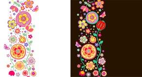 无缝的抽象花卉边界 库存图片