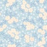 无缝的抽象蓝色花卉背景 库存例证