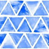 无缝的抽象水彩减速火箭的三角背景 免版税库存图片