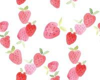 无缝的抽象水彩手拉的美丽的草莓 库存照片