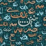 无缝的文本回教社区日的Eid穆巴拉克概念样式装饰品阿拉伯书法  免版税库存照片