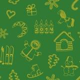 无缝的新年的绿色背景 向量例证