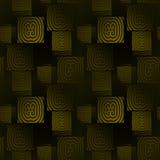 无缝的方形的样式绿色黑色 库存图片