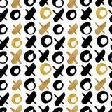 无缝的时髦博克背景构造与手拉的金子 免版税库存照片